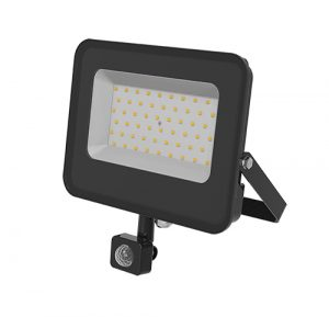 50W PROYECTOR LED SMD NEGRO 100LM/W 4500K CON SENSOR